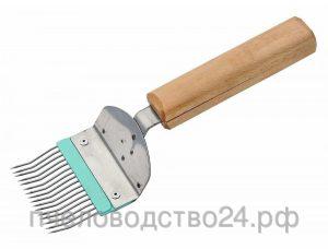 Вилка для распечатывания сот н/ж гнутая игла деревянная ручка