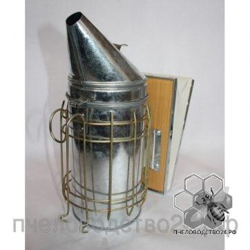Дымарь оцинкованный D-102 мм H-275 мм с защитой от ожога и кожаными мехами