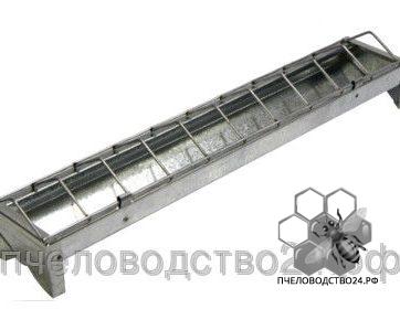Кормушка металлическая оцинкованная для кур, 100см