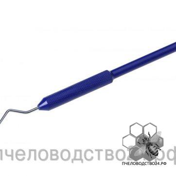 Шпатель металлический для переноса личинок с крючком