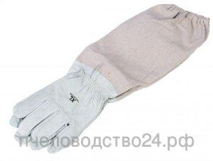 Перчатки пчеловода средний слой из кожи с нарукавниками «Серые XL» размер 10