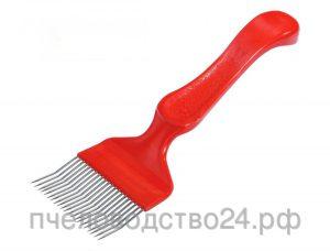 Вилка для распечатывания сот н/ж гнутая игла фигурная пластиковая ручка