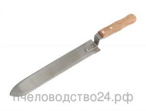 Нож пасечный c прямой и зубчатой заточкой с двух сторон и загнутым носиком