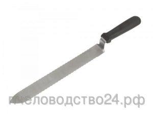 Нож пасечный зубчатый 280 мм c односторонней заточкой и загнутым носиком с ручкой из пластика