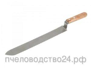 Нож пасечный зубчатый c односторонней заточкой и загнутым носиком «Европа» 280 мм