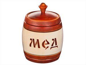 Бочонок липовый для мёда 0,7 л (1 кг) тонированный на половину