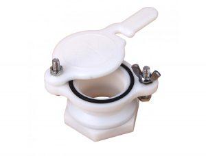 Кран - задвижка пластиковый для медогонок с отверстием 45 мм белый