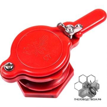 Кран - задвижка пластиковый для медогонок с отверстием 45 мм (красный),