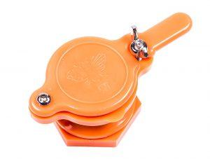 Кран - задвижка пластиковый для медогонок с отверстием 45 мм (оранжевый)